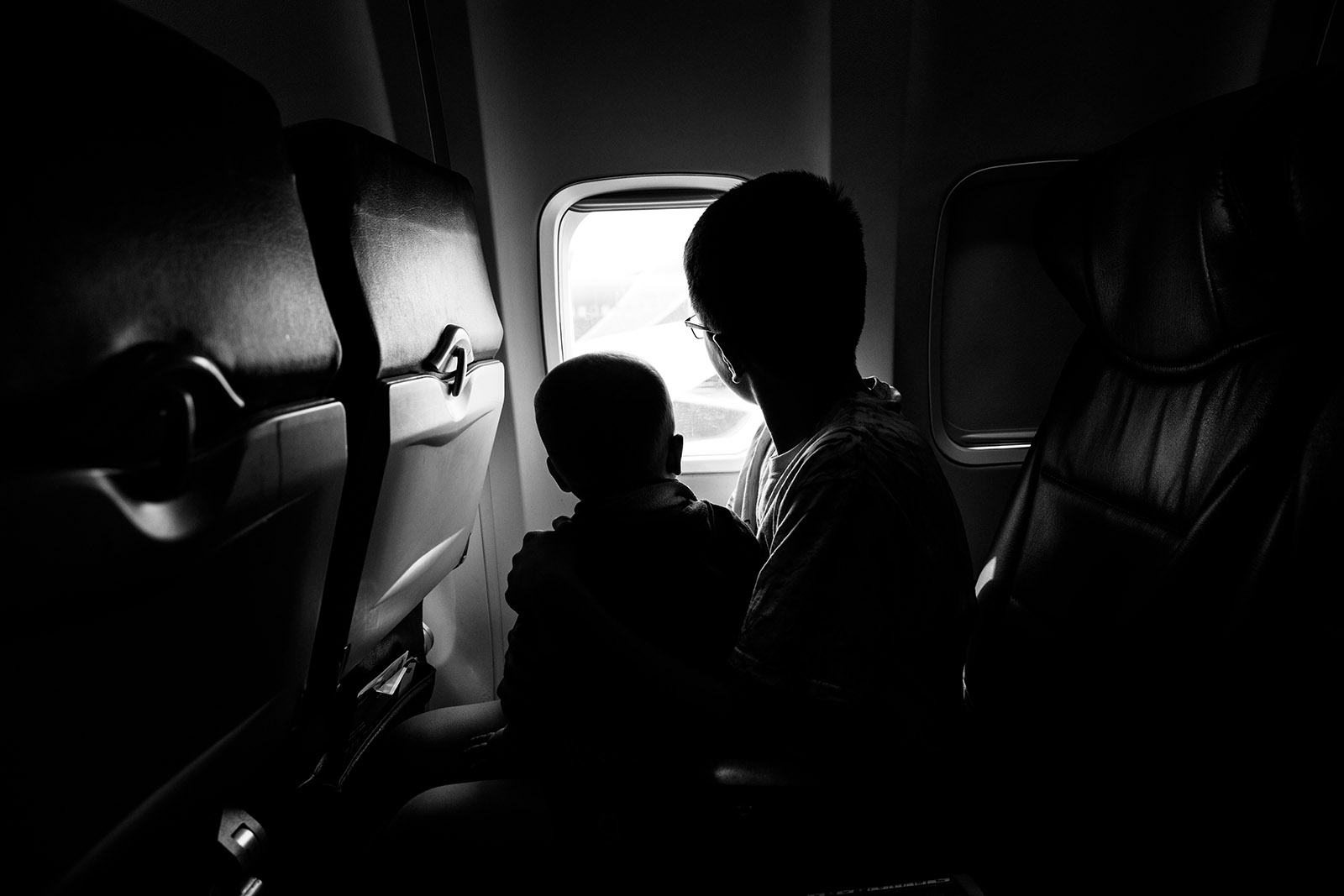 Boys on airplane