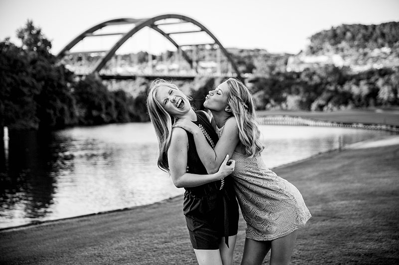 Senior twin girls during a photo session