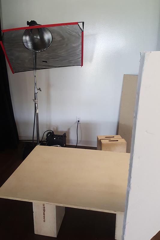 Food photography lighting setup for hard light