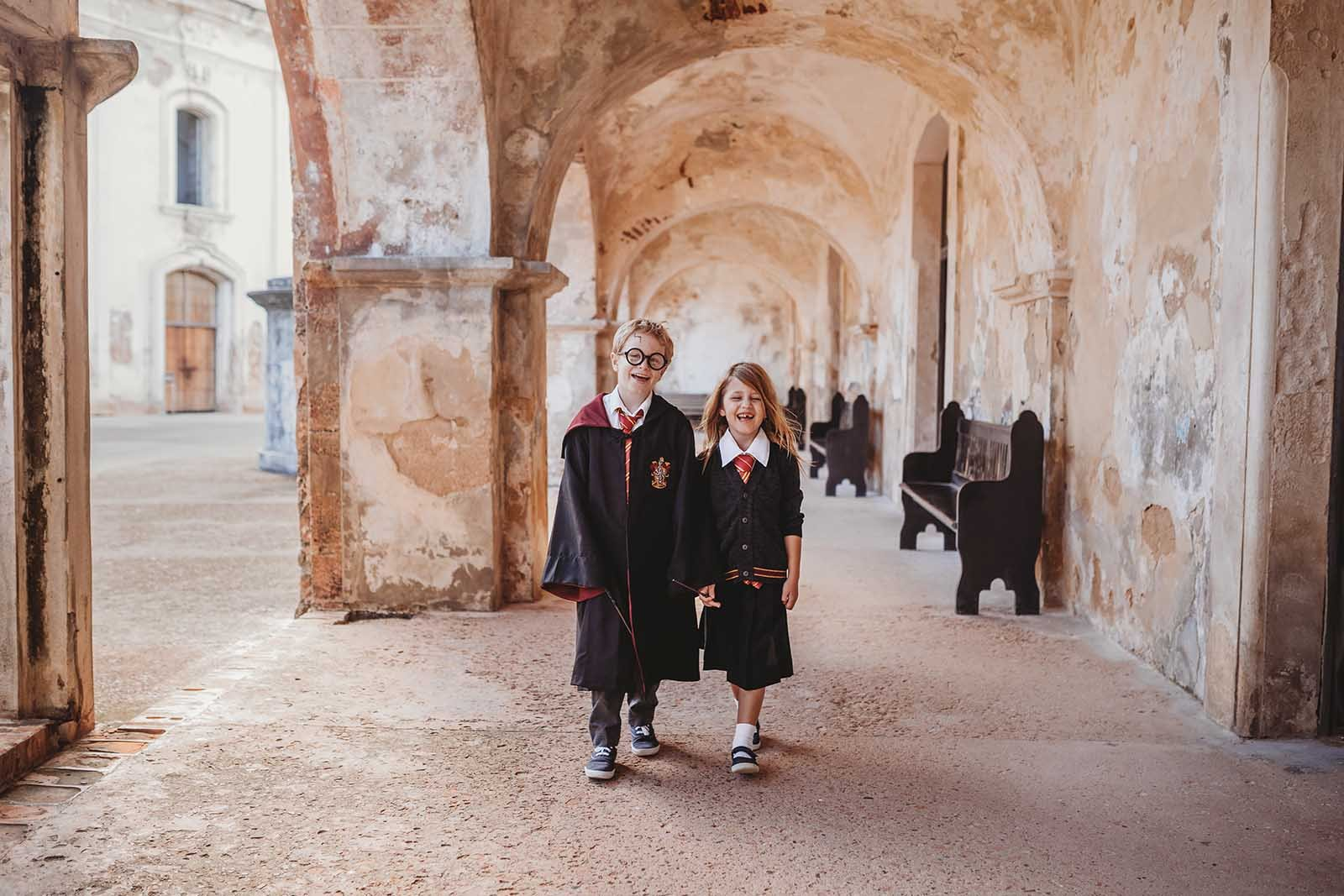 Harry Potter halloween costume photo session at a castle