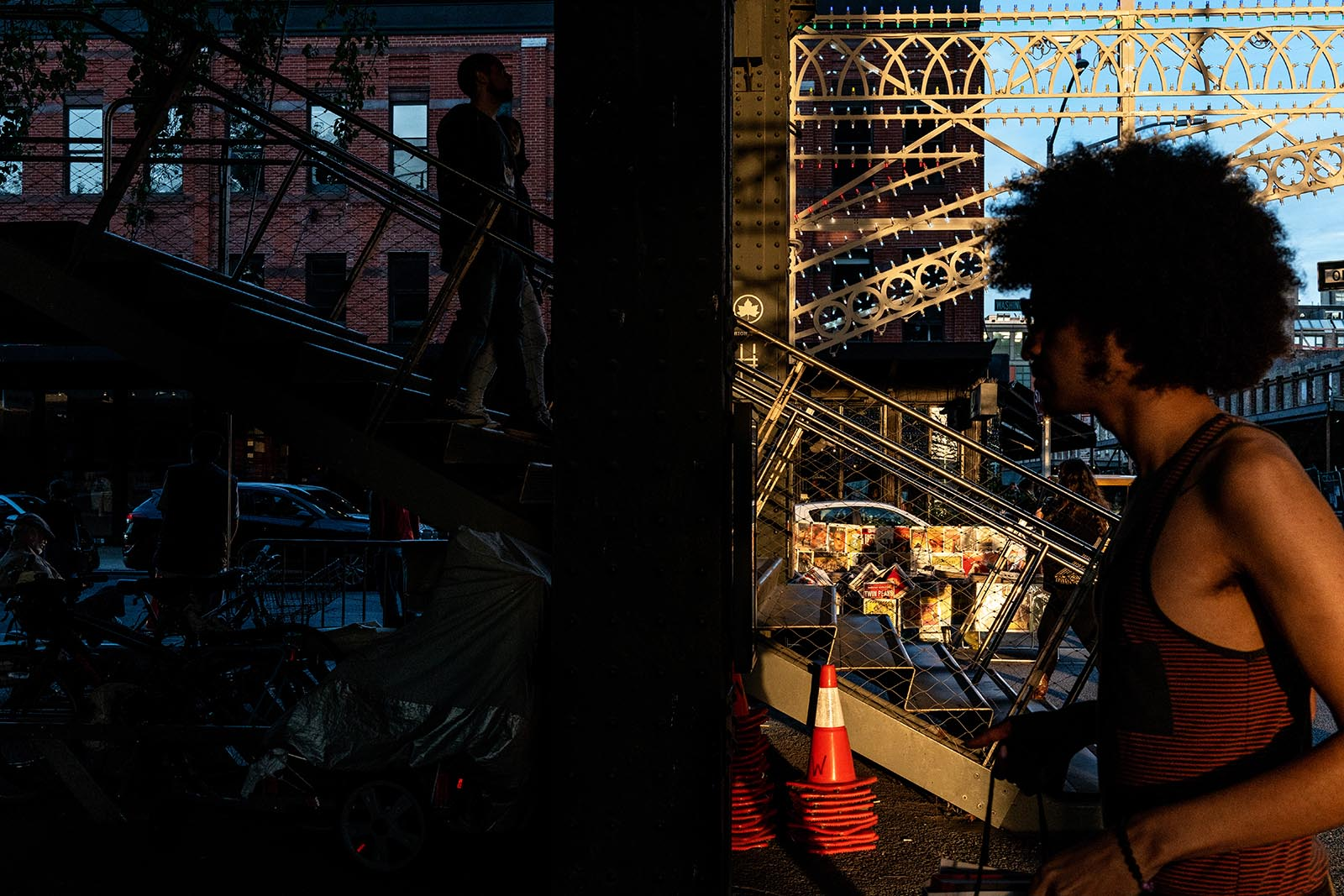 2019 Voice photo contest winner - a split frame street scene of shadow and darkness