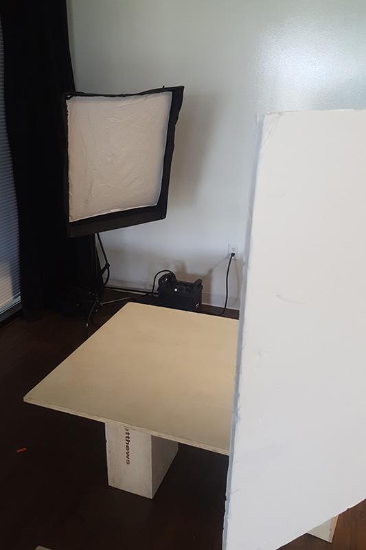 Food photography lighting setup using soft light