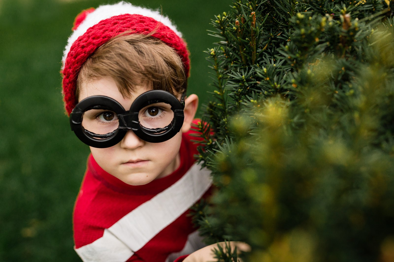 Boy dressed as Where's Waldo for Halloween photo