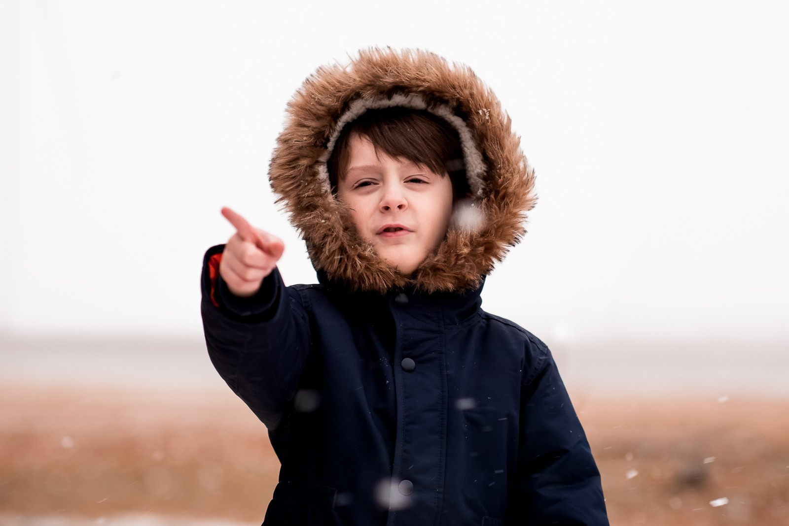 Photographing struggle - autistic child in winter