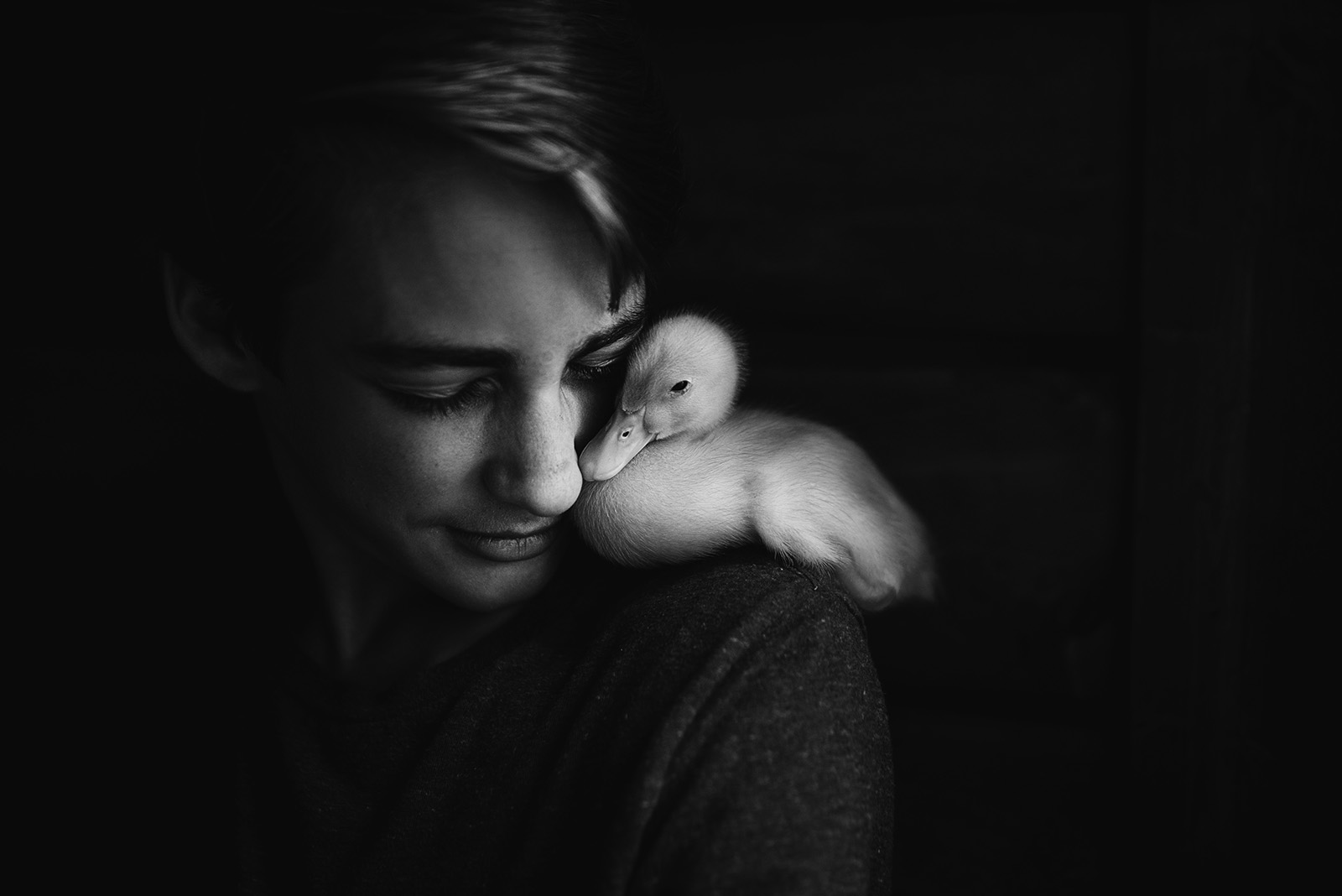 Photo contest winner, duck on shoulder
