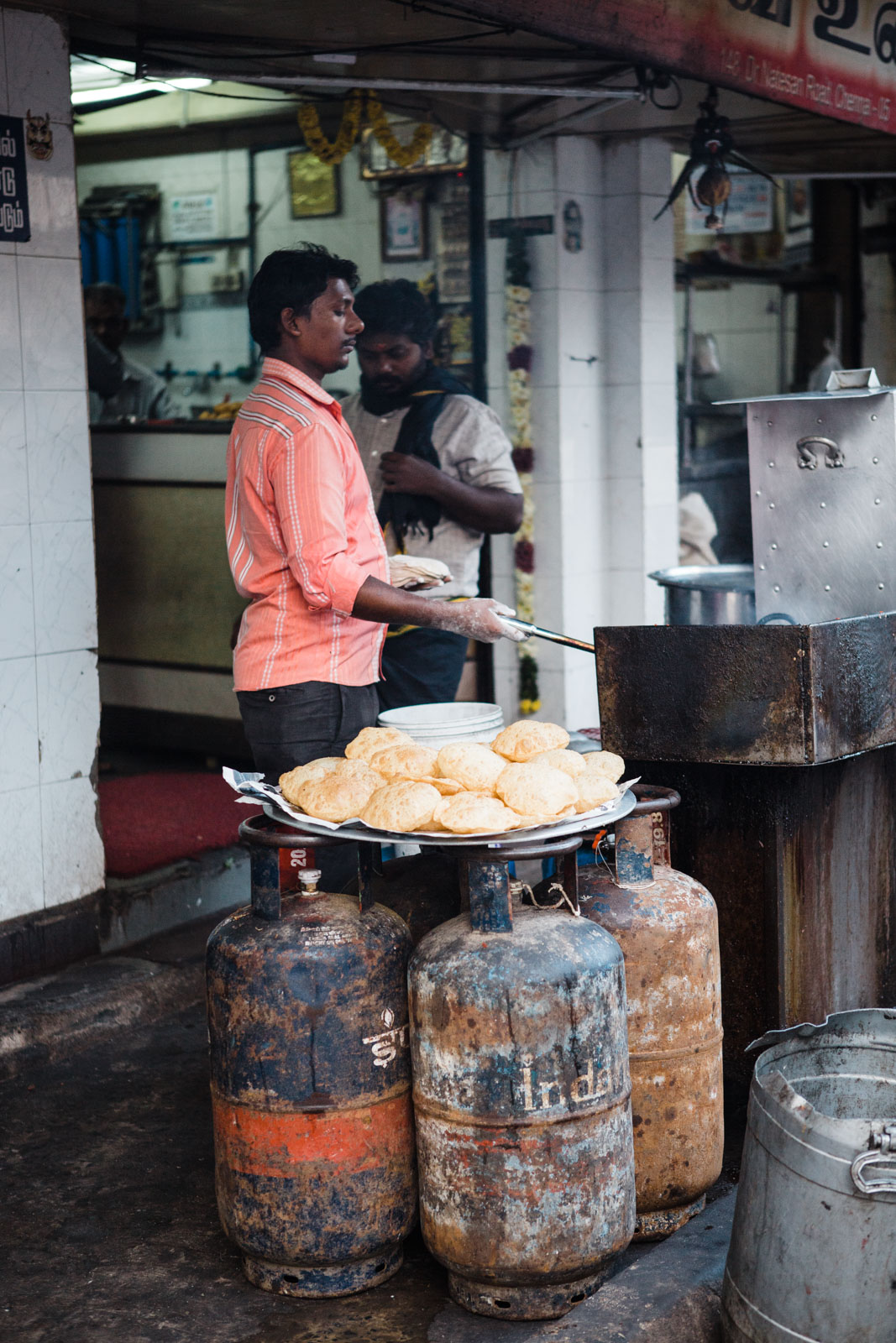 Man cooking in Channai India, travel photo