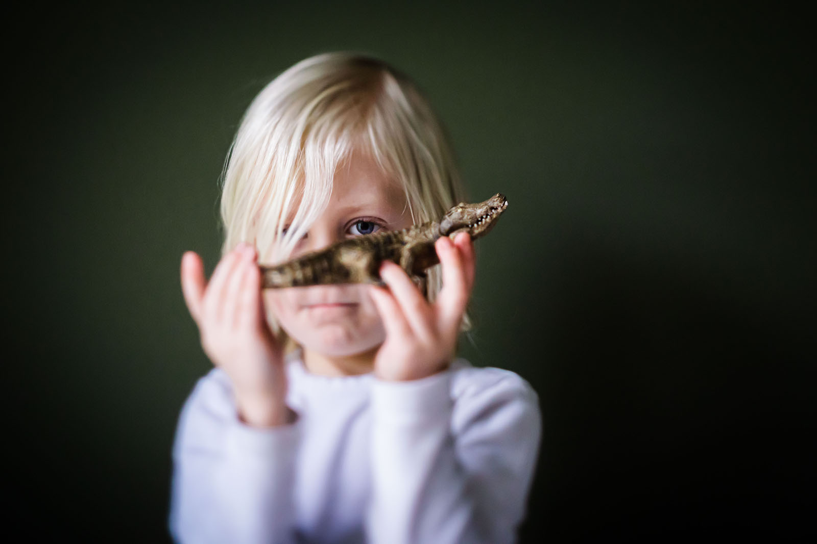 Tilt-shift image of child with lizard, photography on a budget