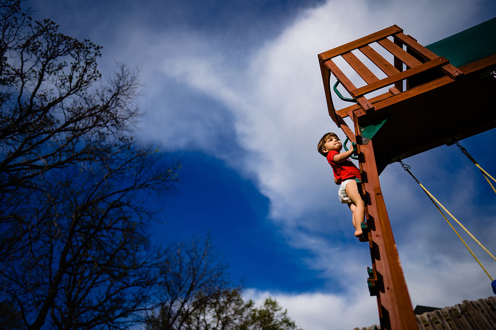Boy climbs treehouse ladder, photo taken from below for creative camera angle