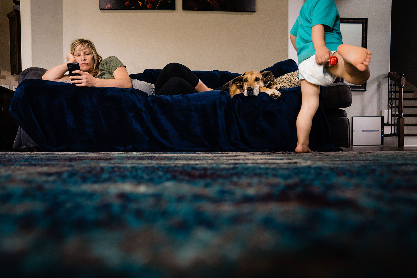 Documentary photo of family at home during Covid-19 self isolation