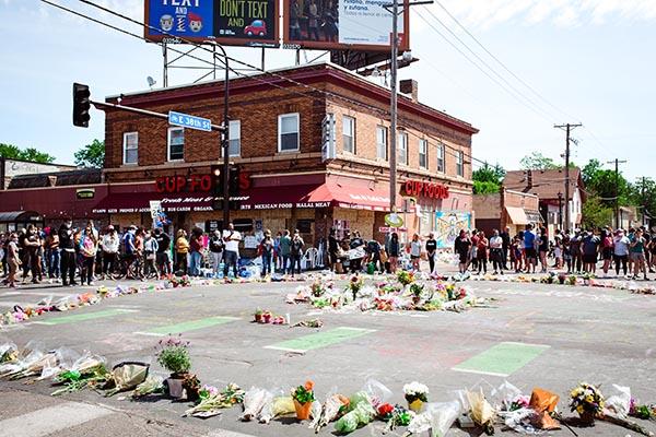 Photo of George Floyd memorial outside Cup Foods in Minneapolis, MN