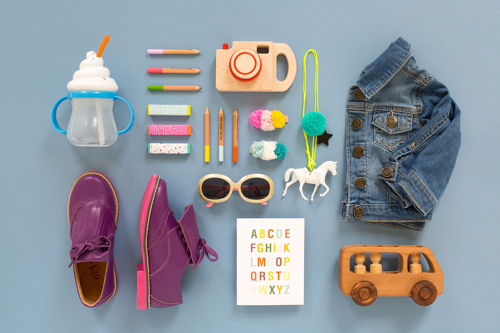 Dynamic flat lay images of childrens items