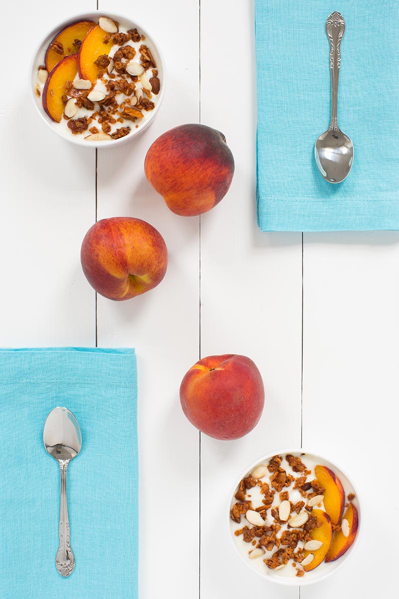 Flat lay photo of peach yogurt