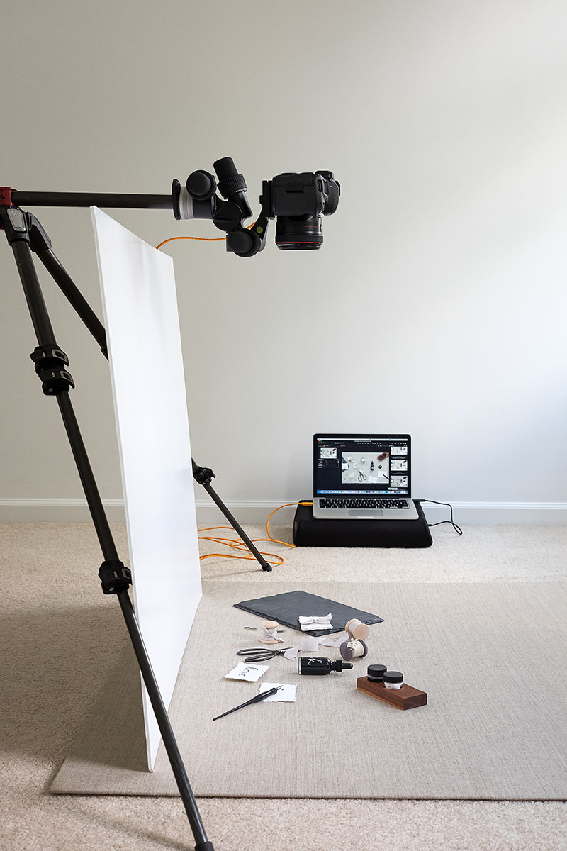 Tethered set up for flat lay photos