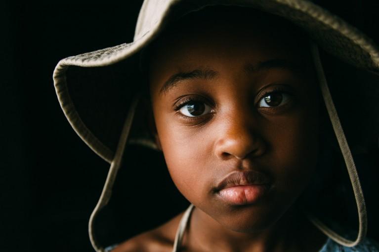 Portrait lighting, photo of a boy's face