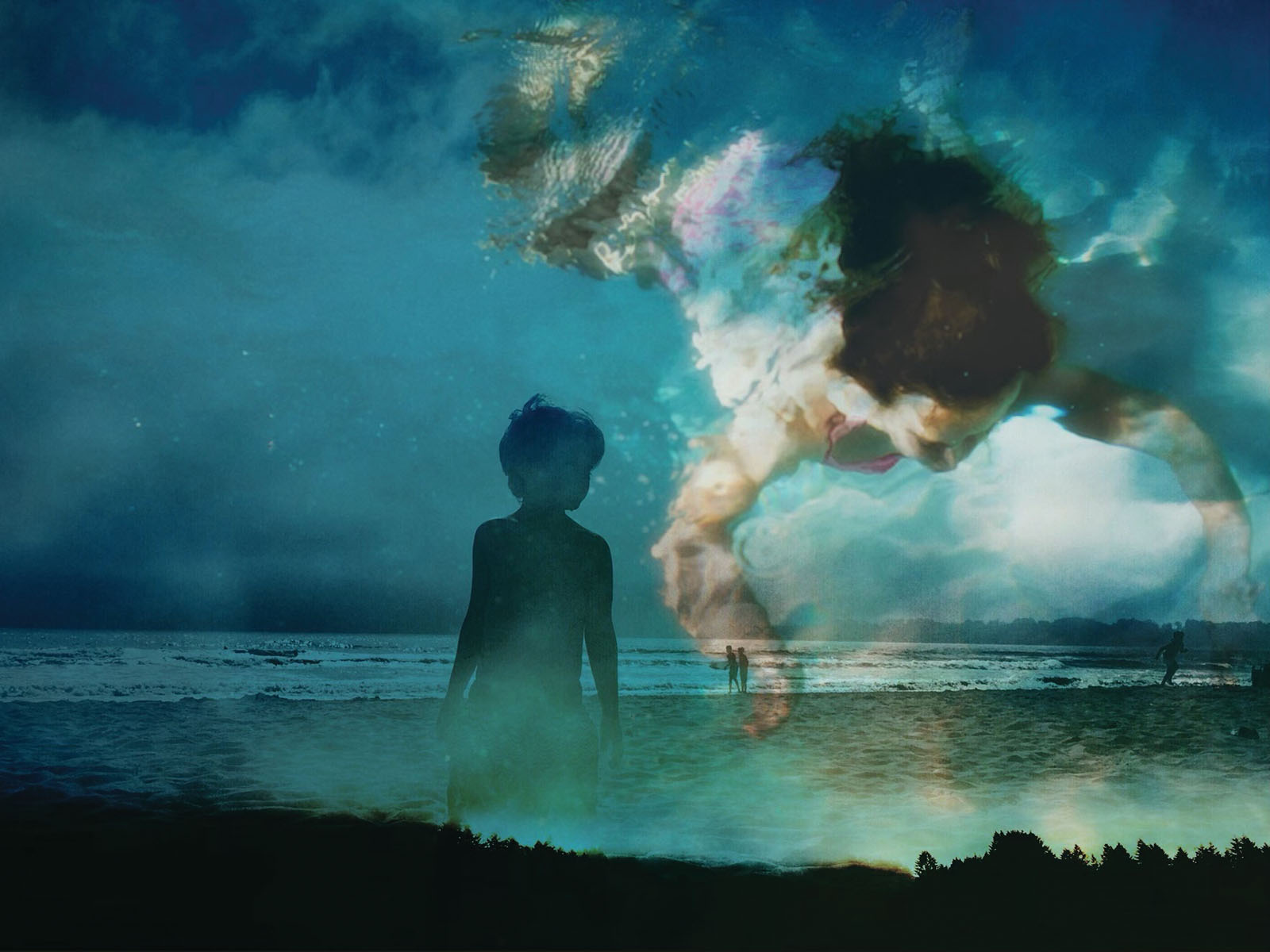 Creative double exposure photo of boy at beach and boy swimming