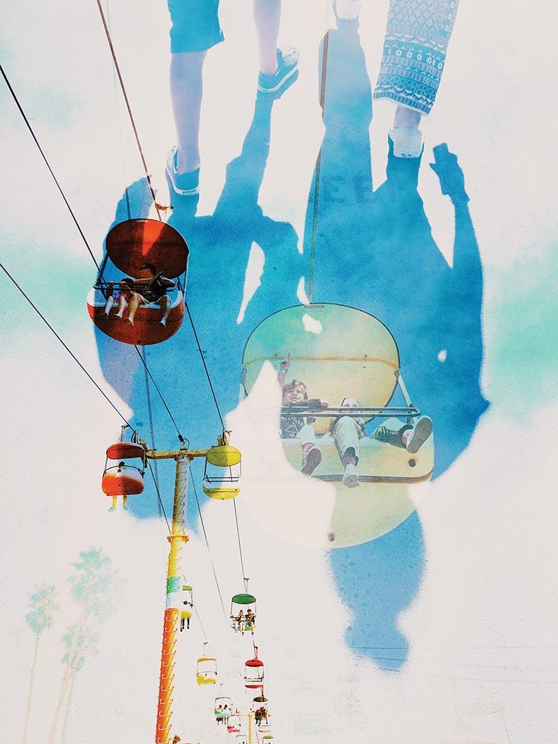 Creative double exposure of ski lift