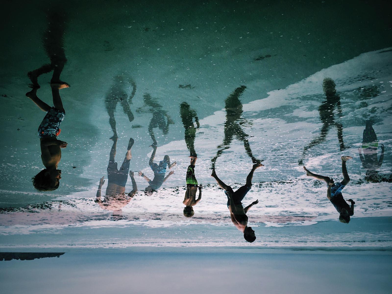 Creative photo of children at beach