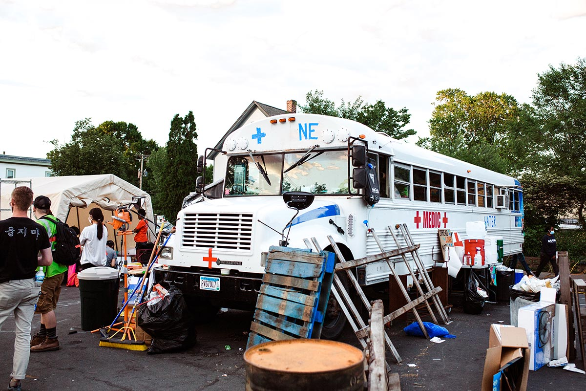 Photo of medic bus at George Floyd protests in Minneapolis, MN