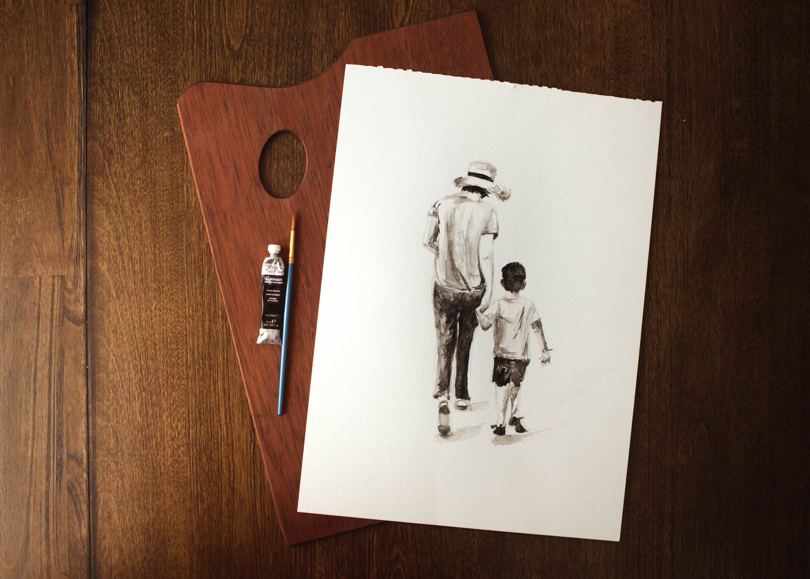 Painting of a mother and son walking by Sarah Gupta