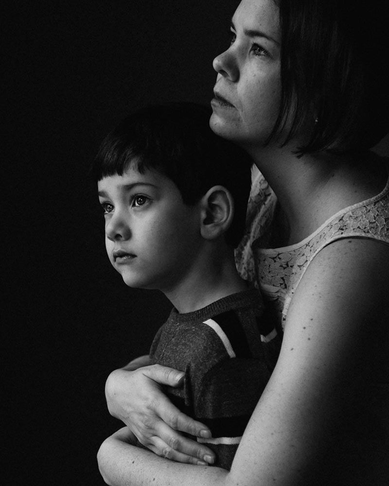 Photo of a mother and son in black and white