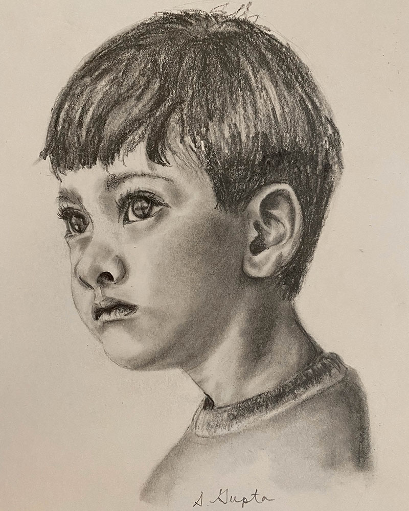 Drawing of a boy, created from a painting