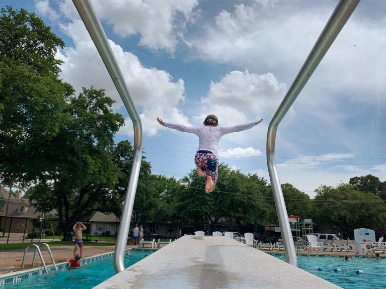 smartphone 365 project, photo of boy jumping off diving board